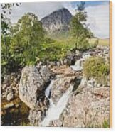 Waterfall Below Stob Dearg Wood Print