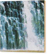 Waterfall Closeup Painting Wood Print