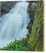 Waterfall - High Water On Falls Brook Wood Print