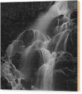 Waterfall In Black And White Wood Print
