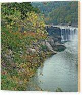 Waterfall In Forest, Cumberland Falls Wood Print