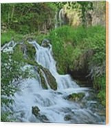 Waterfall In Spearfish Cayon South Wood Print