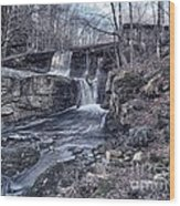 Waterfall In The Fall Wood Print