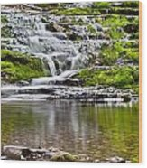 Waterfall In The Forest In Autumn Season  Wood Print