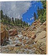 Waterfall In The Rockies Wood Print