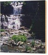 Waterfall Into The Stream Wood Print