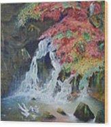 Japanese Waterfall Wood Print