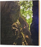 Waterfall Mountain Wood Print