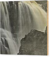 Waterfall On The Rocks Wood Print