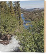 Waterfall Outside Lake Mcleod California Wood Print