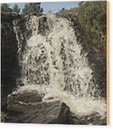 Waterfall Wood Print by Peter Cassidy