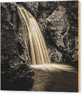 Waterfall Stowe Vermont Sepia Tone Wood Print