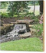 Waterfall With Coneflowers Wood Print