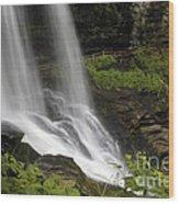 Waterfalls At Base Wood Print