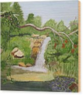 Waterfalls At Red Butte Garden Wood Print