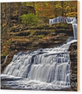 Waterfalls In The Fall Wood Print by Susan Candelario
