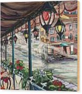 Waterfront Cafe Wood Print
