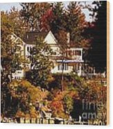 Waterfront Home In Fall Wood Print