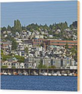 Waterfront Living On Lake Union Wood Print