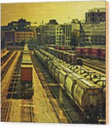 Waterfront Rail Yard Wood Print