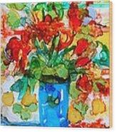 Waterglass Bouquet Wood Print