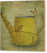 Watering Can With Texture Wood Print