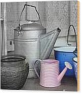 Watering Cans And Buckets Wood Print