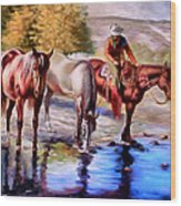 Watering The Horses Wood Print