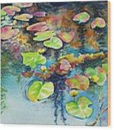 Waterlilies In Shadow Wood Print