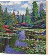 Waterlily Lake Reflections Wood Print