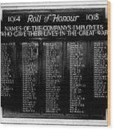 Waterloo Roll Of Honor 1914 1918 Wood Print
