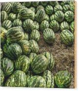 Watermelon Man Watermelon Stand Wood Print by William Fields