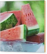 Watermelon Wedges In A Bowl Of Ice Cubes Wood Print