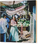 Watermelons At The Market Wood Print