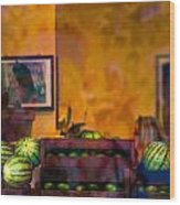 Watermelons On The Window Sill Wood Print