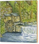 Watermill In The Woods Wood Print
