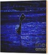 Water's Up In Neon Tweaked Wood Print