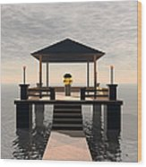 Waterside Gazebo Wood Print