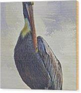 Waterway Pelican Wood Print by Deborah Benoit