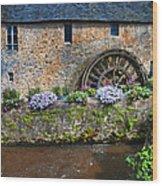 Waterwheel In Brittany Wood Print