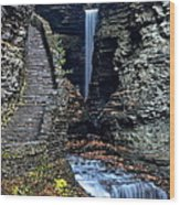 Watkins Glen Central Cascade Wood Print