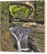 Watkins Glen Waterfalls Wood Print