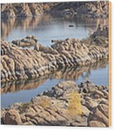 Watson Lake Wood Print by Ray Short