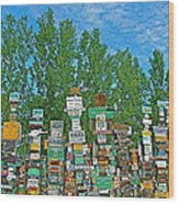 Watson Lake Sign Forest-yt Wood Print by Ruth Hager