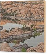 Watson Lake Sunset Wood Print by Angie Schutt