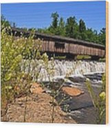 Watson Mill Covered Bridge From The Jetty Wood Print