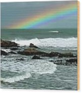 Wave And A Rainbow Wood Print