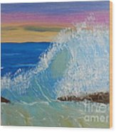 Wave At Sunrise Wood Print