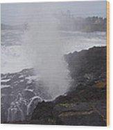 Wave Blast Wood Print by Yvette Pichette
