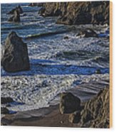 Wave Breaking On Rock Wood Print by Garry Gay
